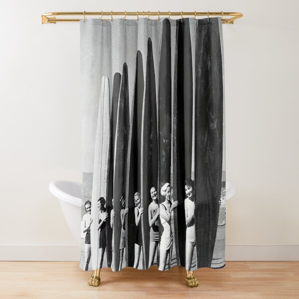 Surfers on Beach Vintage Black and White Photograph Shower Curtain
