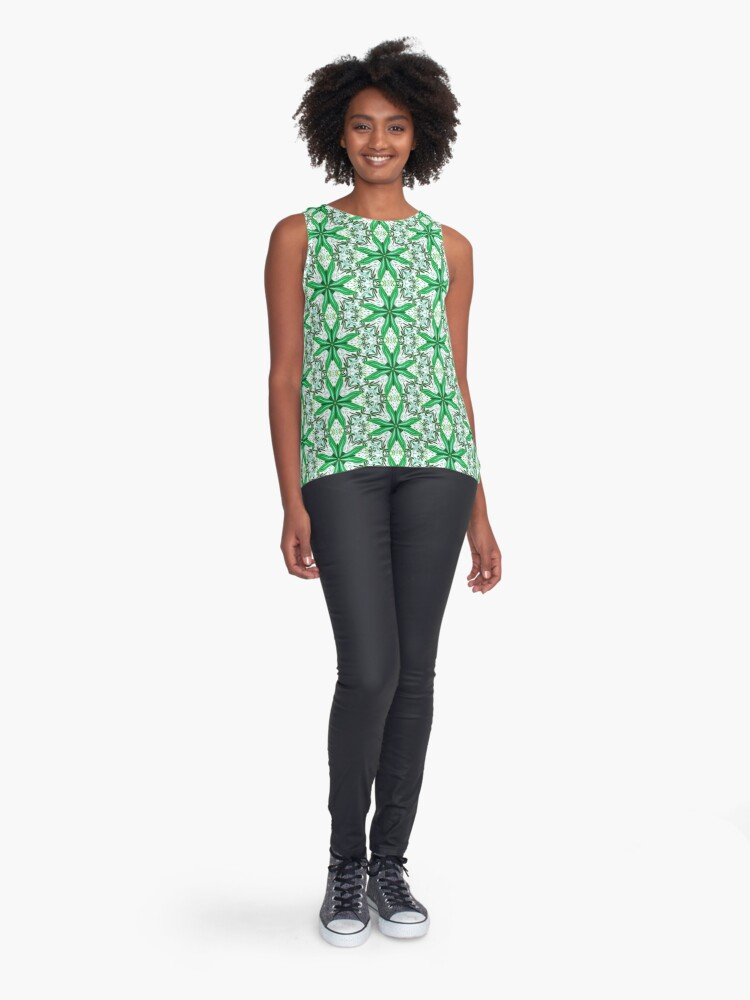 Alternate view of Green tile Sleeveless Top