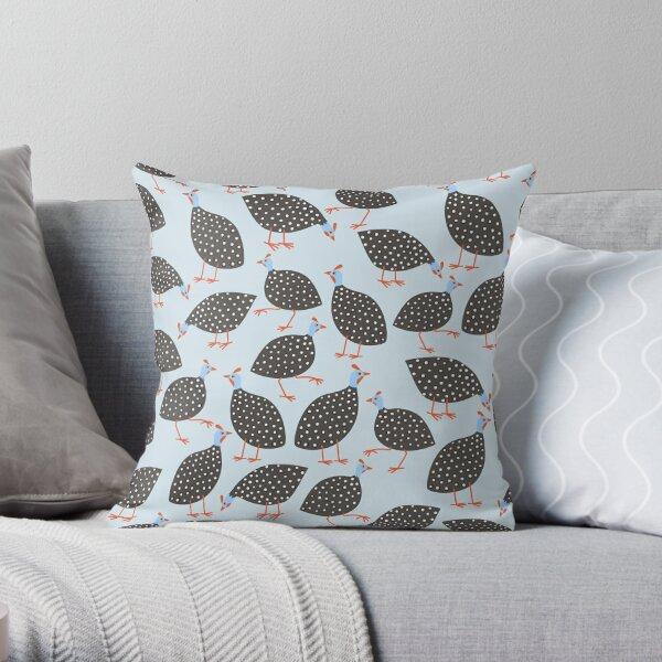 Guinea Hens on Blue Throw Pillow