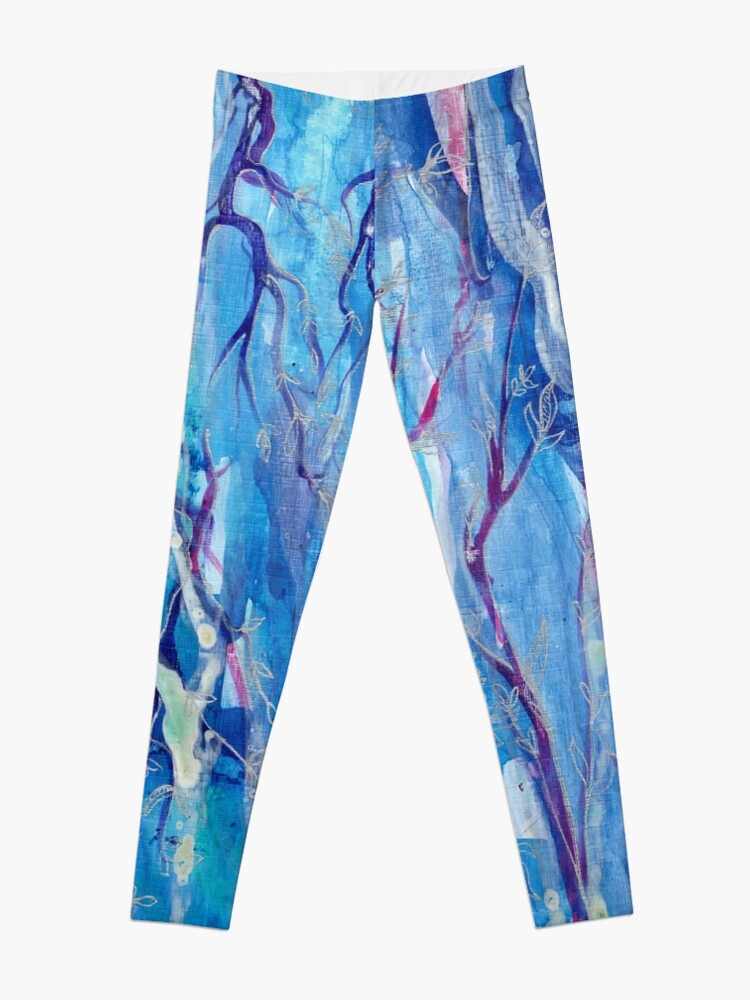 "Alternate view of abstract ink painting ""Zuckerwald"" Leggings"