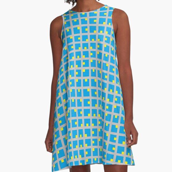 #Grid, #pattern, #design, #square, abstract, mosaic, tile, illustration, art A-Line Dress