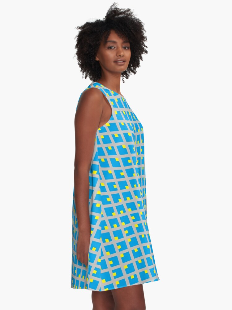 Alternate view of #Grid, #pattern, #design, #square, abstract, mosaic, tile, illustration, art A-Line Dress