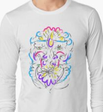Retro-Psychedelic Flowers Long Sleeve T-Shirt