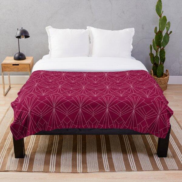 Art Deco in Raspberry Pink Throw Blanket