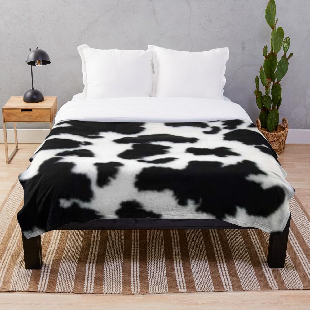 Cow Hide spotted fur Farm Animal Pattern Black White Throw Blanket