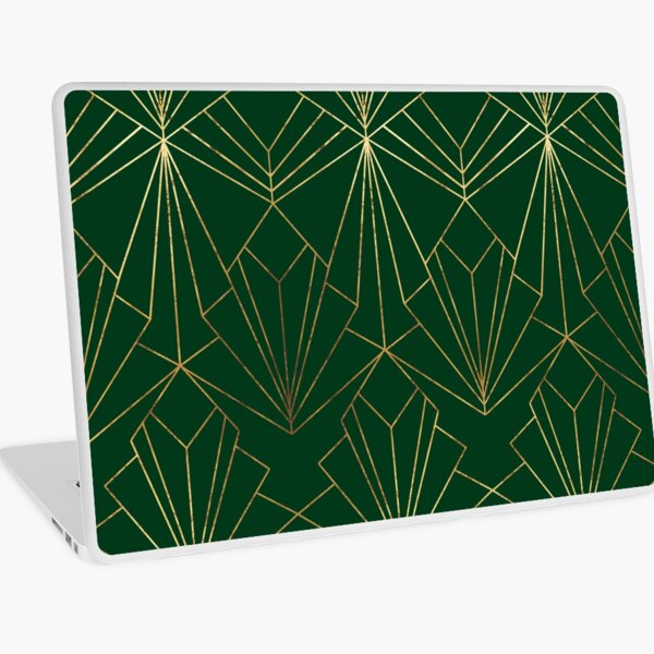 Art Deco in Gold & Green - Large Scale Laptop Skin