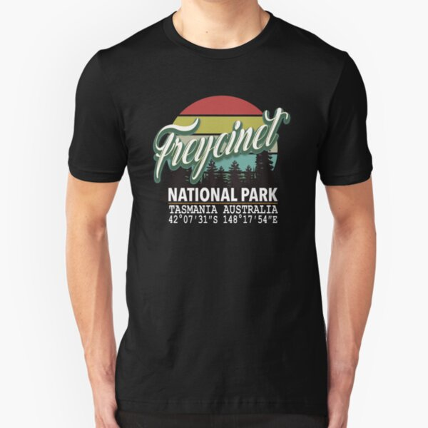 Freycinet National Park with GPS Location Western Australia Slim Fit T-Shirt