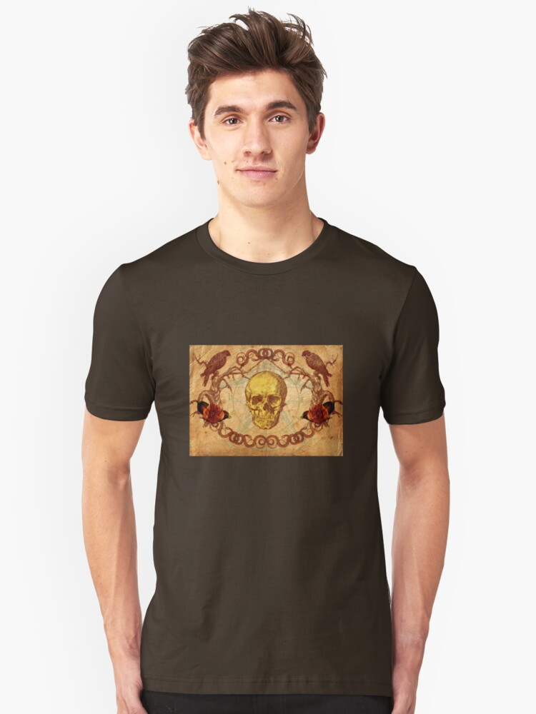 Skull, Crows and Roses Unisex T-Shirt Front