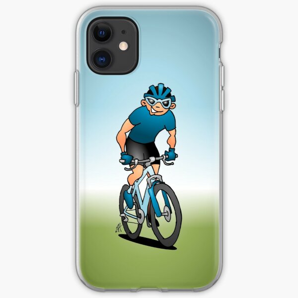 MTB - Mountain biker on his moutainbike iPhone Soft Case