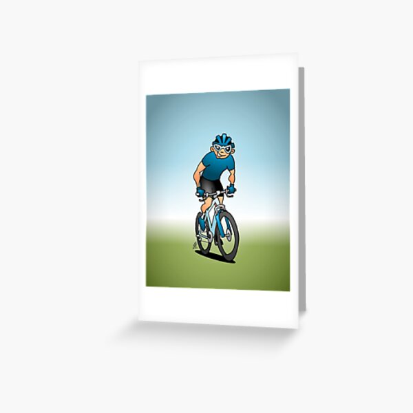 MTB - Mountain biker on his moutainbike Greeting Card