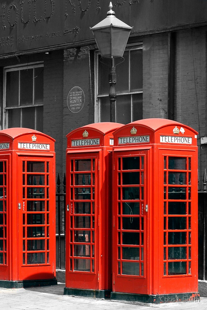 Red Telephone boxes in London by Chris L Smith