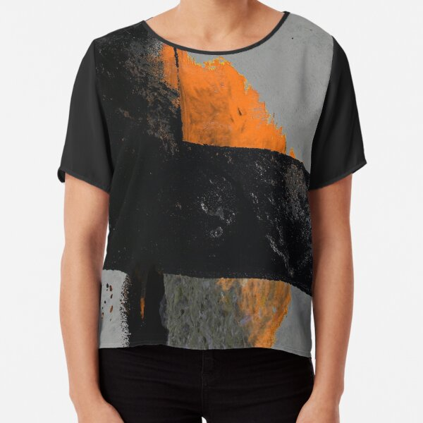 Minimal Orange on Black Chiffon Top