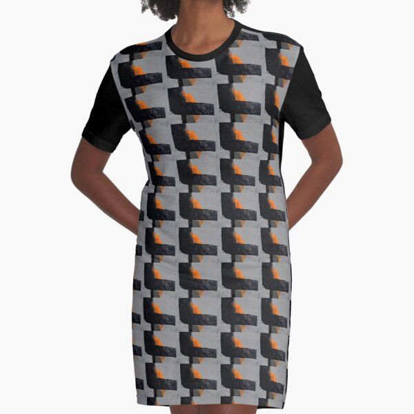 Minimal Orange on Black Graphic T-Shirt Dress