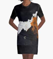 Minimal Orange on Black Graphic T-Shirt Dress