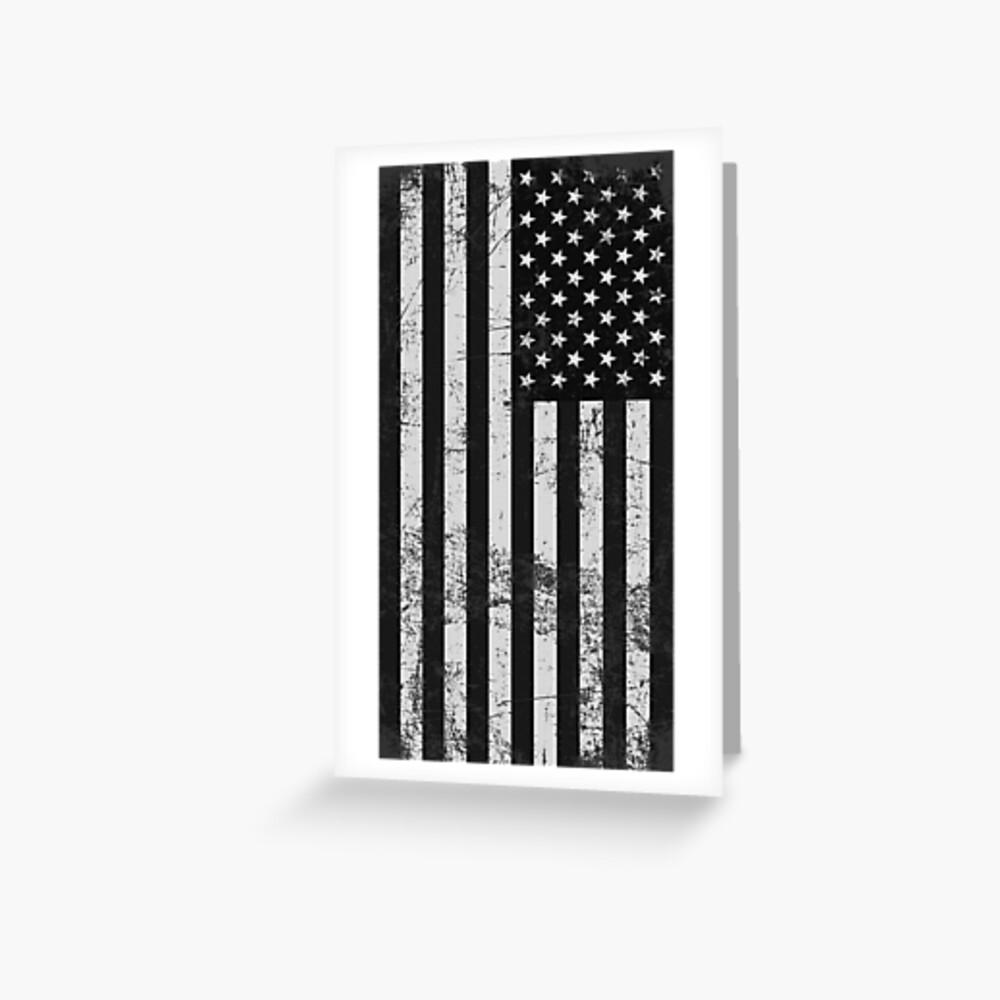 Bandera americana blanco y negro Tarjetas de felicitación