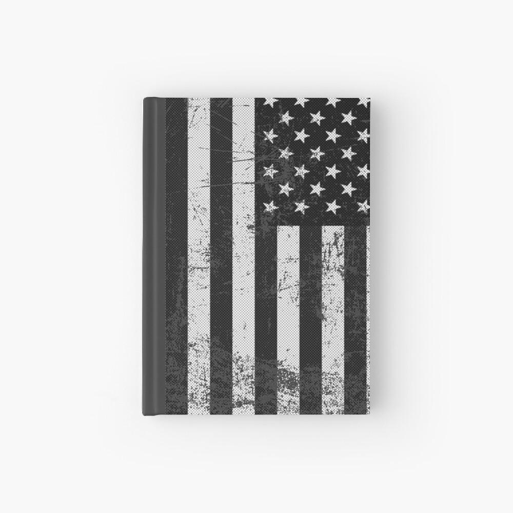 Bandera americana blanco y negro Cuaderno de tapa dura