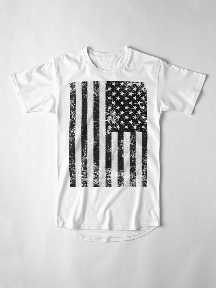 Vista alternativa de Camiseta larga Bandera americana blanco y negro
