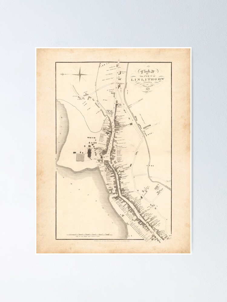 Alternate view of Linlithgow | Old Scottish Town Plan, Old Map of Linlithgow, Scotland Poster