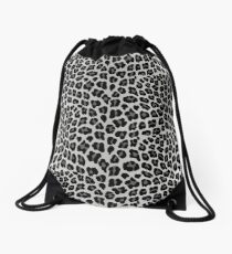 Snow Leopard print Drawstring Bag