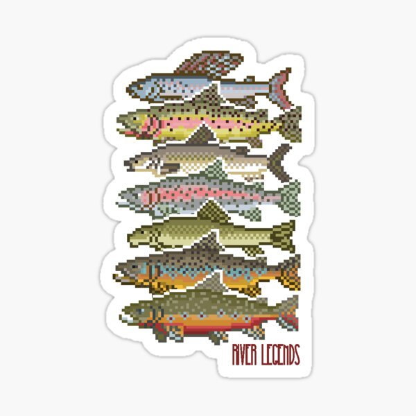 Fly Fishing Pixel Art Multispecies: River Legends Game Sticker