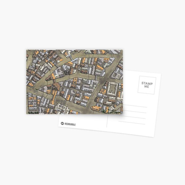 Great Lunden Rooftop Chase Map Postcard