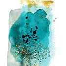 Abstract watercolour: turquoise, gold, and black by Sybille Sterk