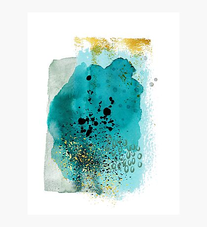 Abstract watercolour: turquoise, gold, and black Photographic Print