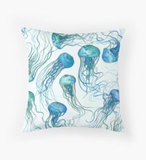 Jellyfish ocean Throw Pillow