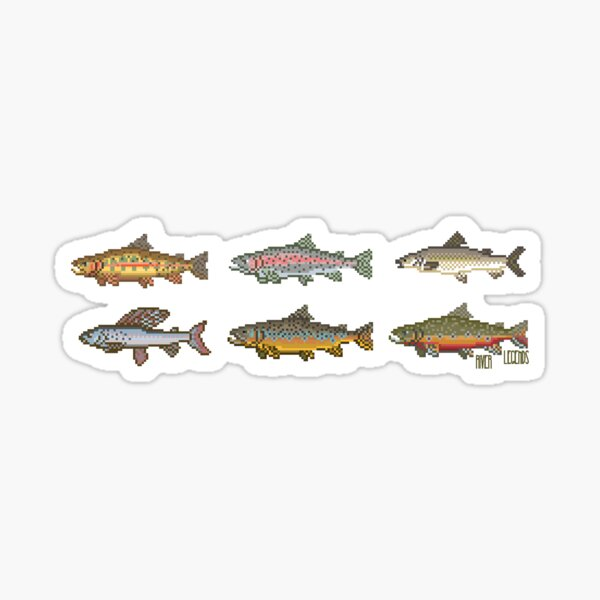 Trout Pixel Art River Legends  Sticker