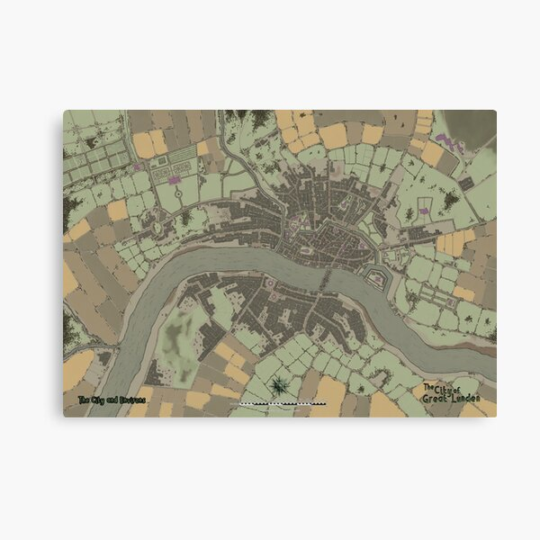 The City of Great Lunden Full Map Canvas Print