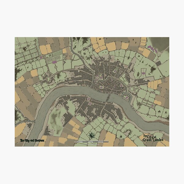 The City of Great Lunden Full Map Photographic Print