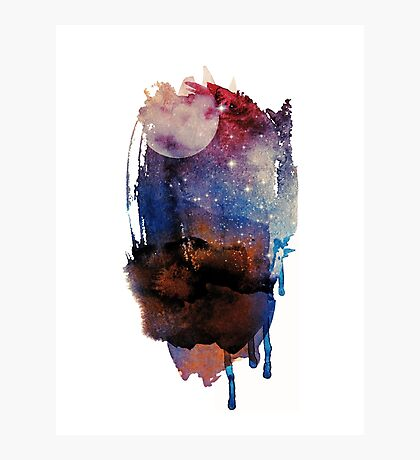 Abstract watercolour: red, blue, white, and black Photographic Print