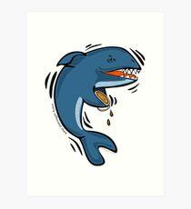 Overly Caffeinated Shark Art Print