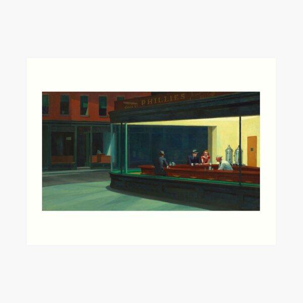 ARTISTA AMERICANO. Edward Hopper, Halcones de la noche, 1942. Lámina artística
