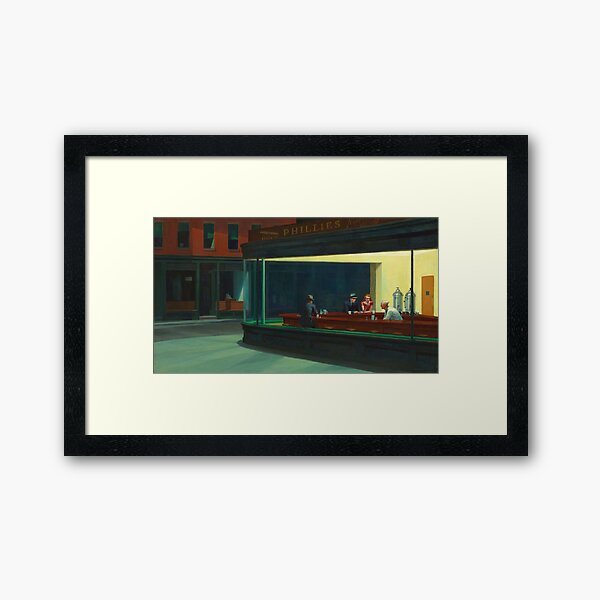 AMERICAN ARTIST. Edward Hopper, Nighthawks, 1942. Framed Art Print