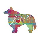 Shetland Sheepdog / Sheltie Love - A Bright and Colorful Watercolor Style Gift by traciwithani