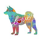 Shiba Inu Love - A Bright and Colorful Watercolor Style Gift by traciwithani