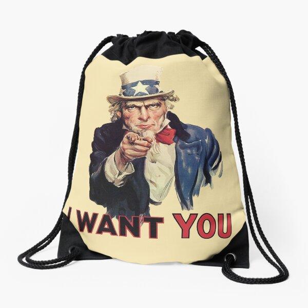UNCLE SAM. Americana, America, I Want You! Uncle Sam Wants You. Recruitment Poster, USA. Drawstring Bag