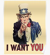 UNCLE SAM, Americana, America, I Want You! Uncle Sam Wants You. Recruitment Poster, USA. Poster