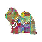 Shih Tzu Love - A Bright and Colorful Watercolor Style Gift by traciwithani