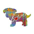Toy Poodle Love - A Bright and Colorful Watercolor Style Gift by traciwithani