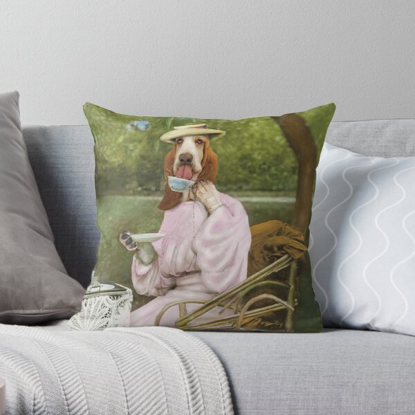 Basset Hound drinking tea dressed in vintage Victorian clothes Throw Pillow