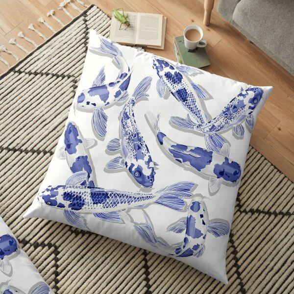 Blue and white Koi fish Floor Pillow