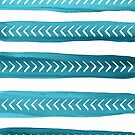 Teal Tribal Brushstrokes Watercolor Pattern by blueskywhimsy
