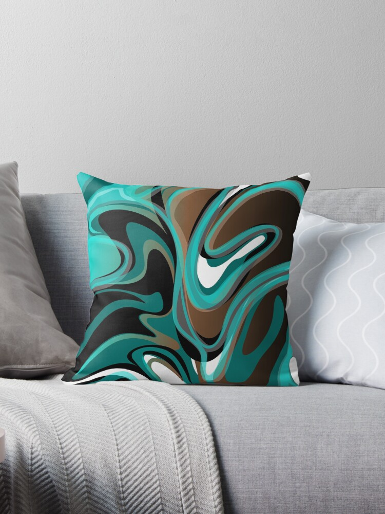 Flow Abstract in Turquoise, Teal, Brown, Black and White