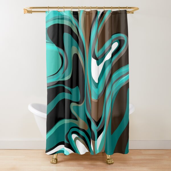 Liquify – Brown, Turquoise, Teal, Black, White Shower Curtain