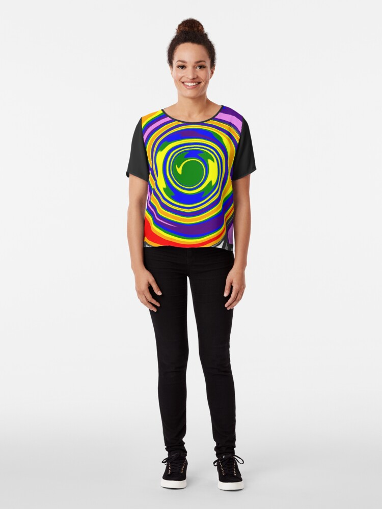 Alternate view of #Rainbow, #creativity, #abstract, #vortex, bright, design, art, nature, psychedelic  Chiffon Top