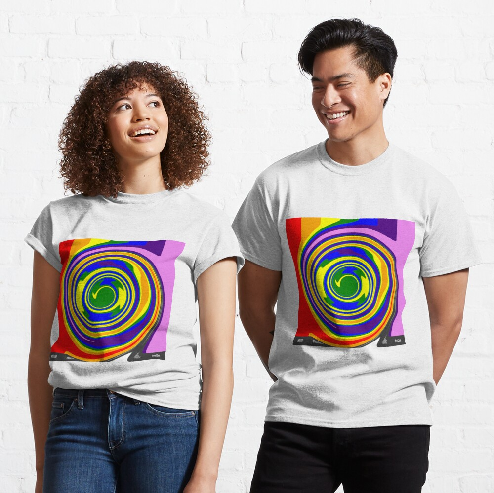 #Rainbow, #creativity, #abstract, #vortex, bright, design, art, nature, psychedelic  Classic T-Shirt