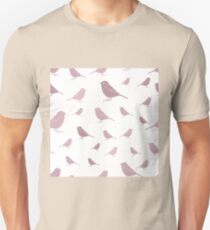 Sweet birds on a white background pink Unisex T-Shirt