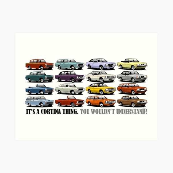 Ford Cortina evolution poster Art Print